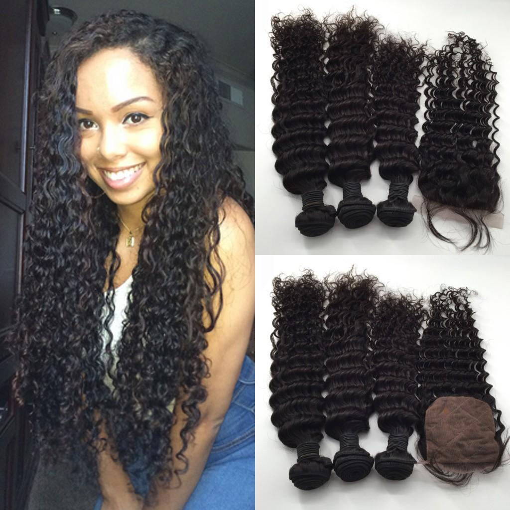 Free Middle 3 Way Part Silk Base Lace Closure (4x4) With Virgin Peruvian Wet And Wavy Human Hair Bundles Natural Color 4pc Lot