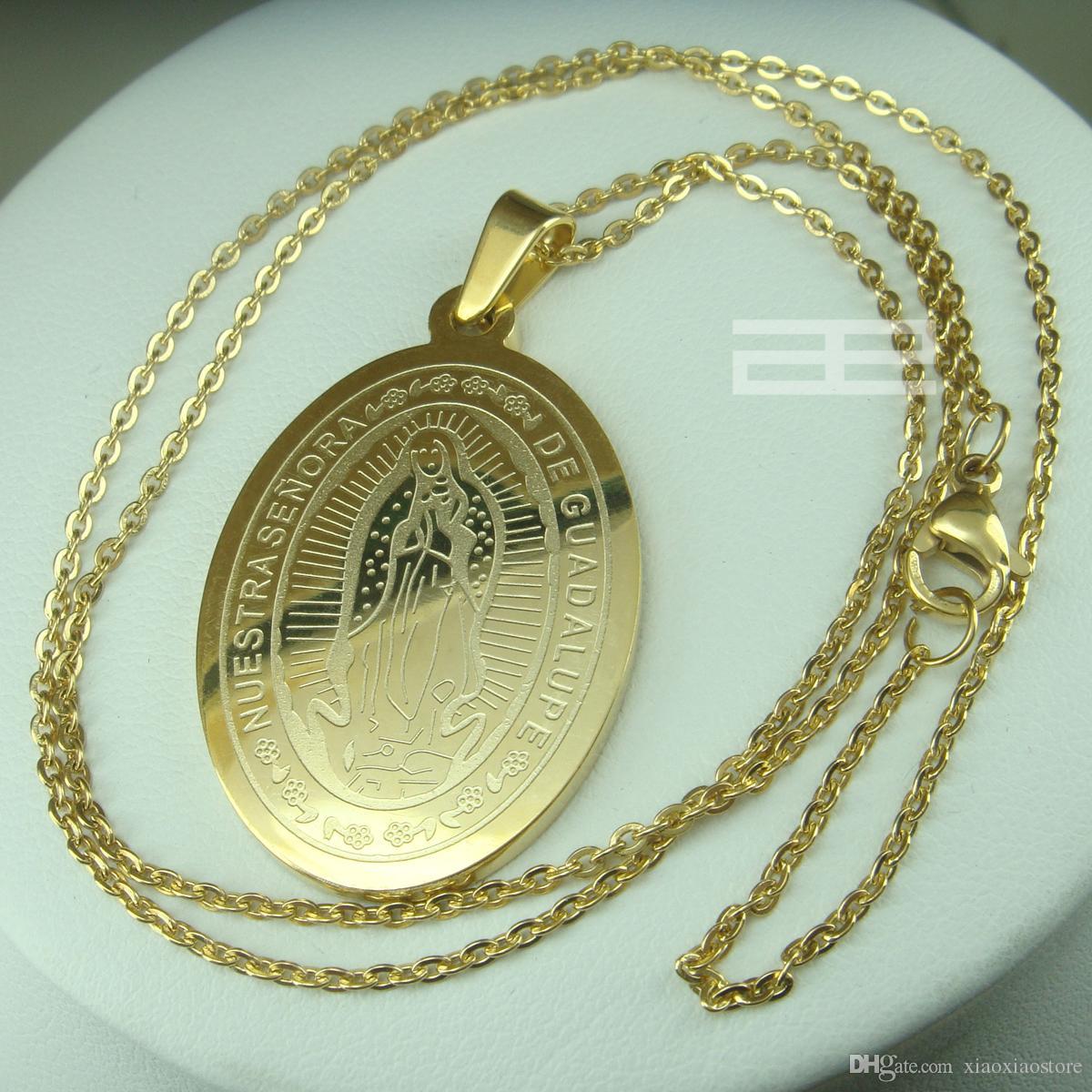 da donna 18K 18CT GP in oro giallo La collana con pendente a catena Virgin Mary N204