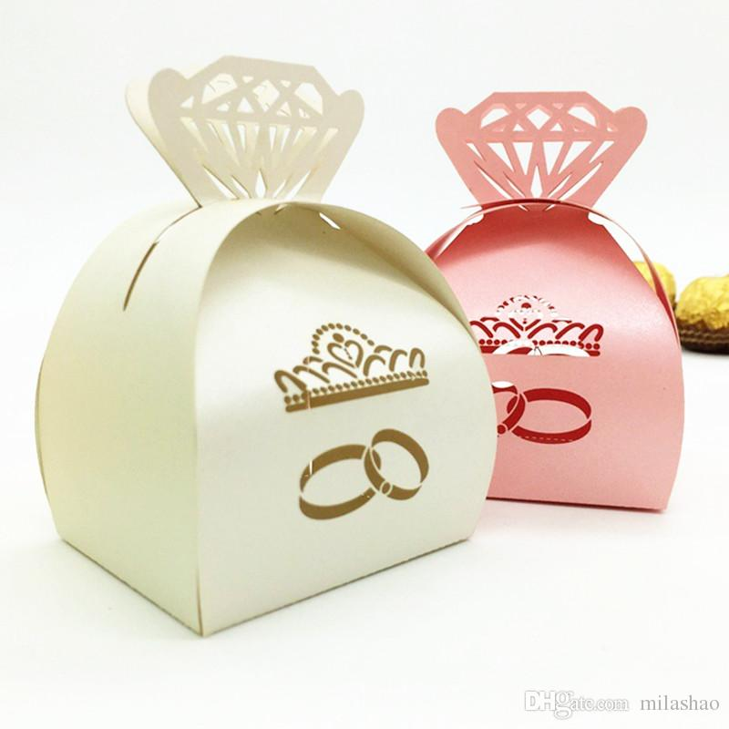 Wedding ring laser cutting favor box hollow crown shape laser cutting wed engagement bridal shower party favor holders
