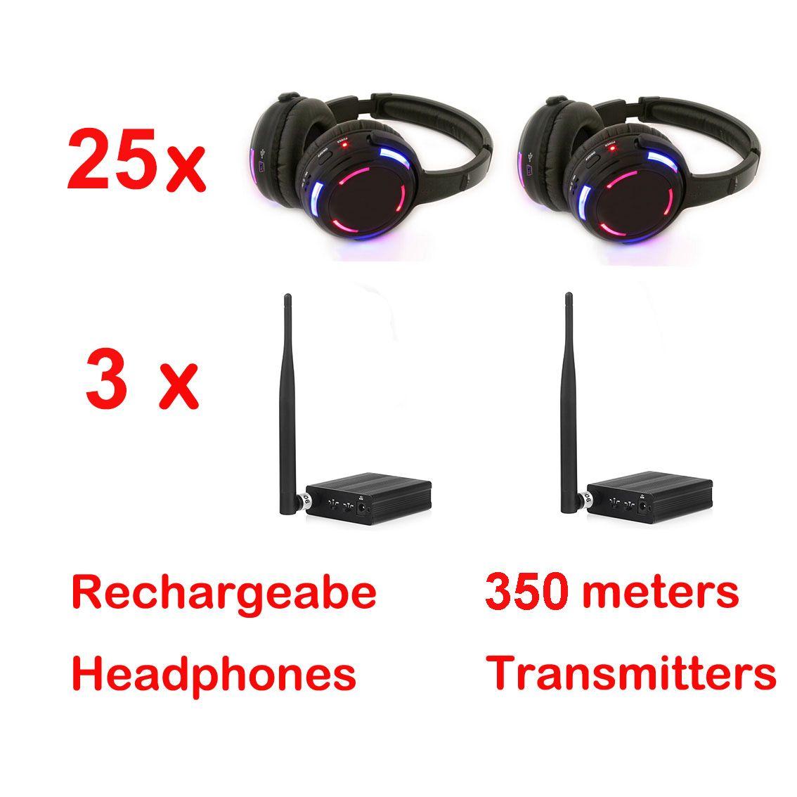 Casque professionnel silencieux Disco avec 3 canaux Système sans fil à prix avantageux pour iPod MP3, musique DJ (25 récepteurs + 3 émetteurs)