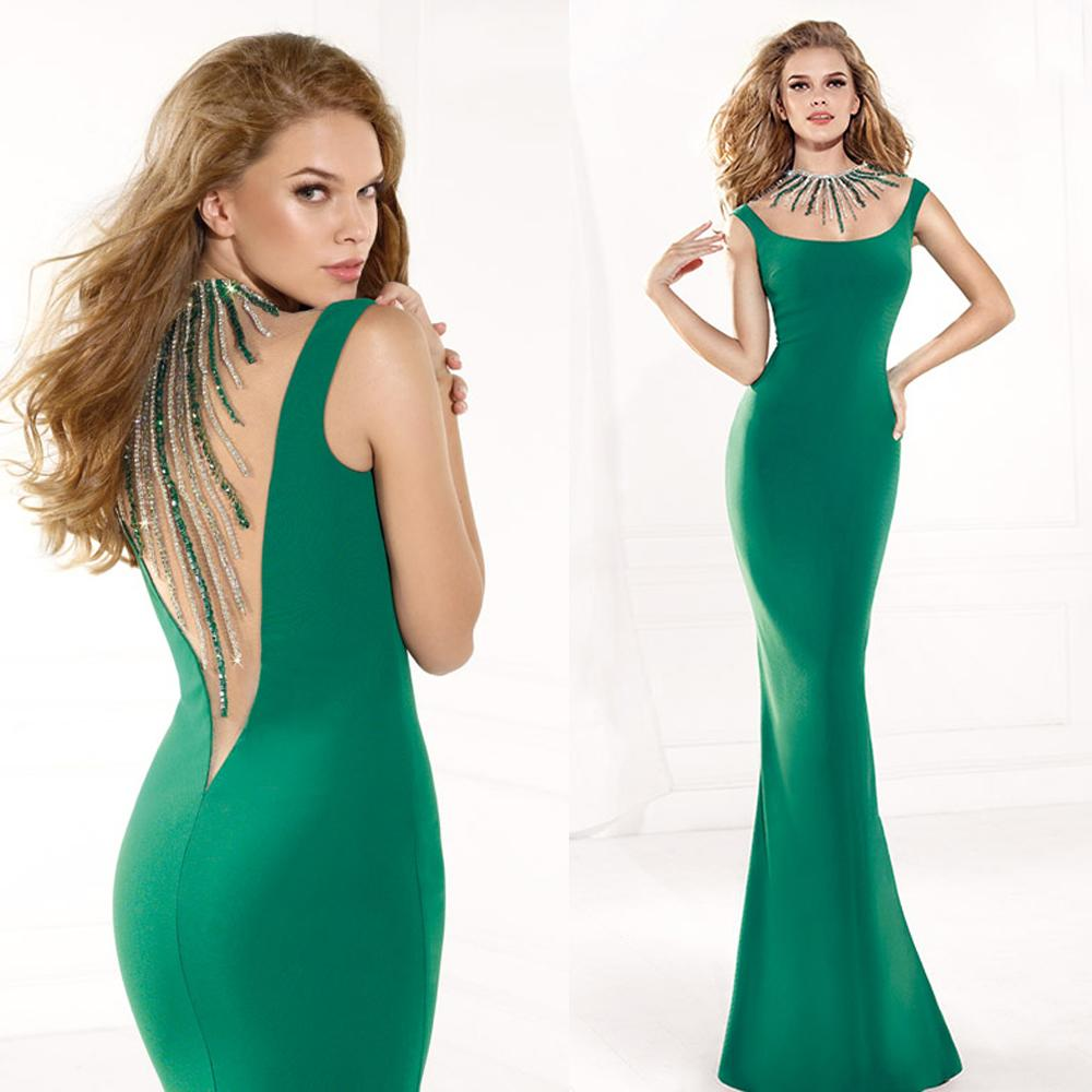 großhandel bling mermaid dark green abendkleid sexy strass backless tarik  ediz 2015 prom dresses wulstige lange festzug kleider für frauen e5577 von