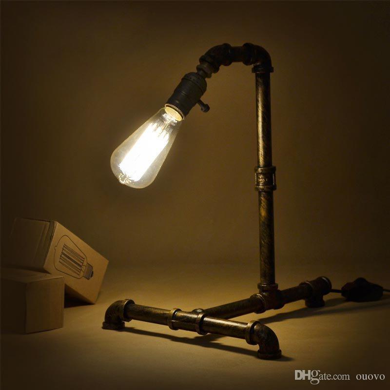 Lampada da tavolo vintage in metallo industriale con barra per acqua, da tavolo in stile country americano, lampada da tavolo rustica, lampada da studio, luci da scrivania