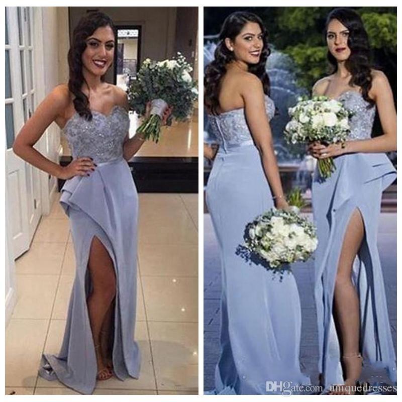 Neue Ankunft Schatz Lange Abendkleider 2018 Applikationen Perlen Side Split Formale Abendgesellschaft Kleid Brautjungfernkleider