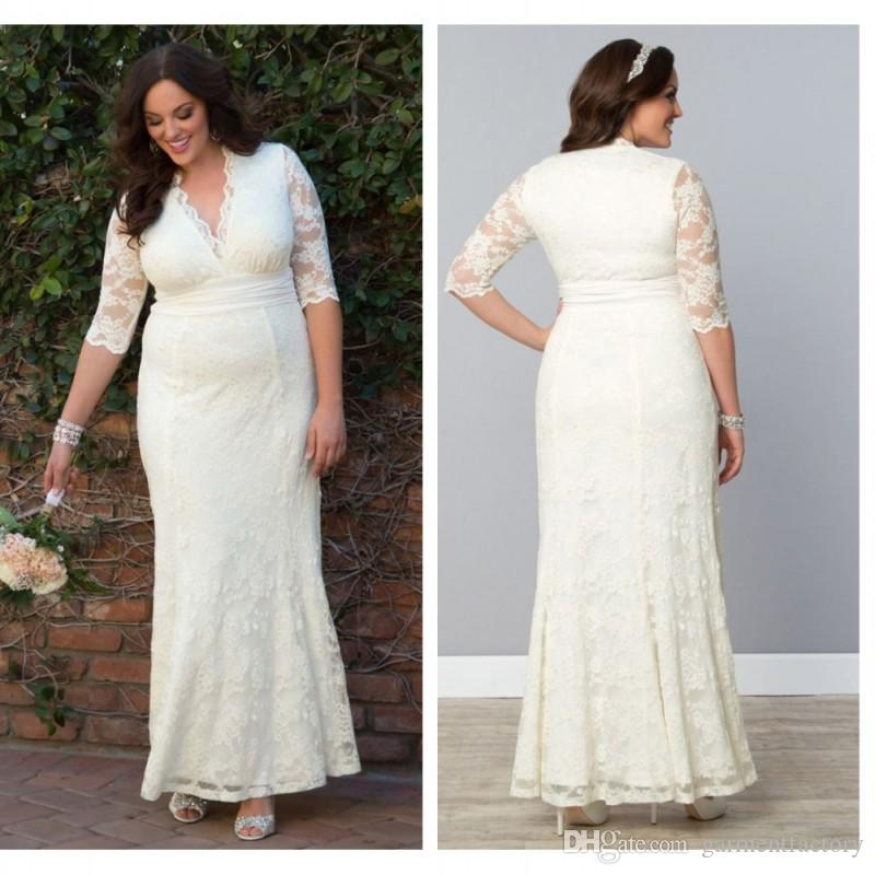 Plus Size Wedding Dresses With Sleeves 2015 Summer Beach Modest V Neck A  Line Floor Length Ivory Lace Beach Bridal Gowns With Sash 2018 From  Garmentfactory, ...