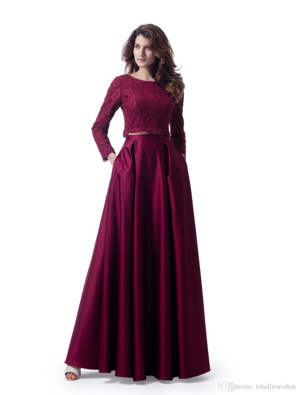 Dark Red Two Pieces Modest Bridesmaid Dresses With Long Sleeves Lace Top Satin Skirt With Pockets Wedding Party Dresses 2 Pieces New