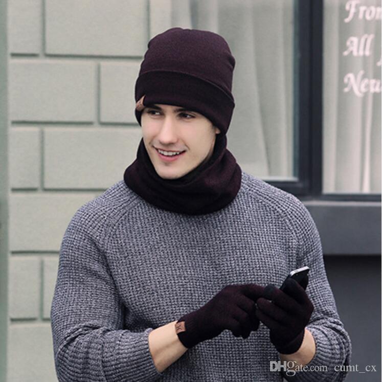 Bufanda de invierno Hat Glove Sets Hombres Mujeres Warm Thick Unisex Guantes Set Unisex Gorras Bufandas Conjuntos Hombre Mujer 6 colores