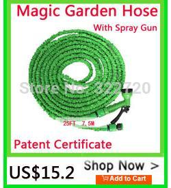 [PATENT CERTIFICATE] After Stretched Working Lenght Flexible Expandable Connector 250FT Blue Garden Water Hose+Spray Gun