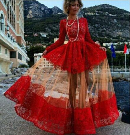 2018 Women Long Sleeve Maxi Dresses Runway Plus Size Prom Dress