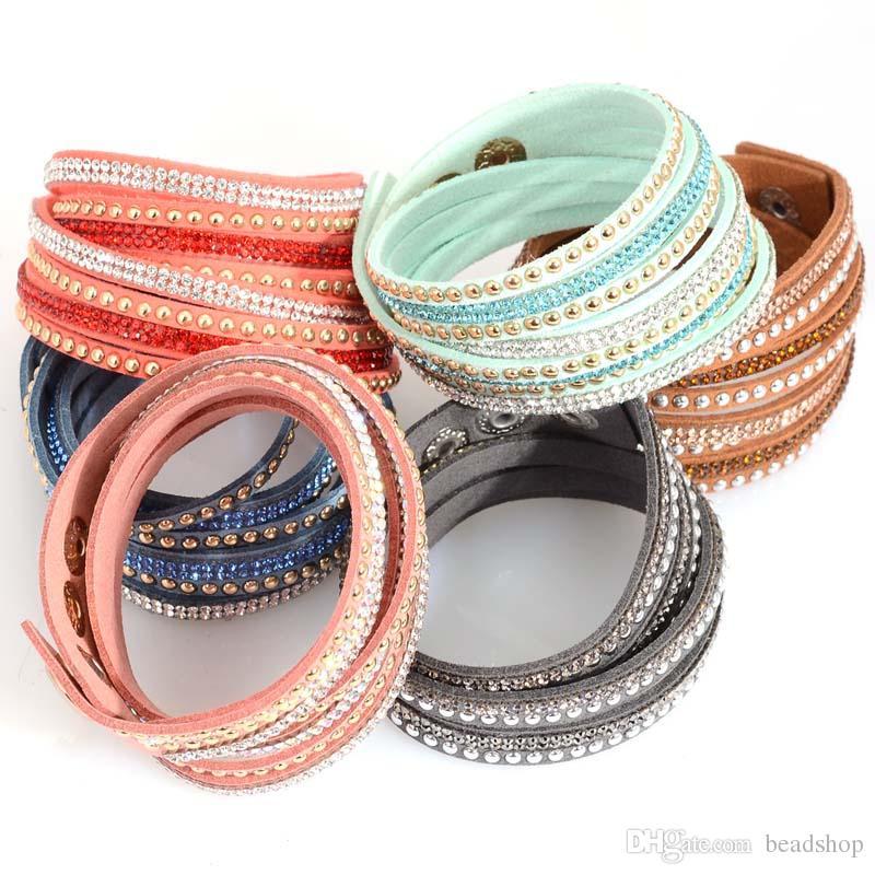 Najnowszy Multilayer Velvet Leathet Pave Crystal Double Wrap Bransoletka z rhinestone owiniętych bransoletek dla kobiet prezenty