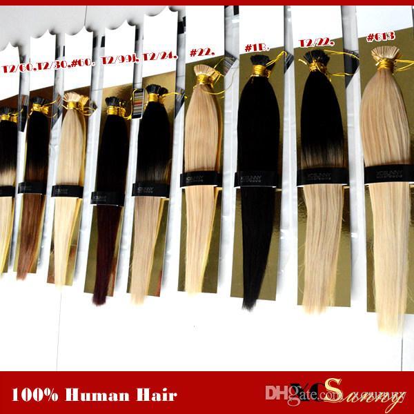 """XCSUNNY I Tipp Fusion Hair Extensions 18"""" 20"""" natürliche Haarverlängerungen Keratin 1g / s 100g / pc-Stock-Inder Remy Menschenhaar-Verlängerung"""