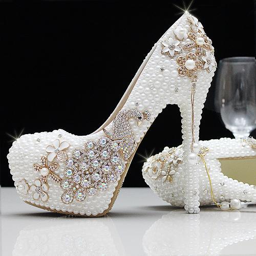 Moda Lüks İnciler Kristaller Rhinestone Beyaz Fildişi Düğün Ayakkabı Boyutu 12 cm Yüksek Topuklu Gelin Ayakkabı Parti Balo Kadın Ayakkabı