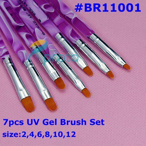 Toptan-100 setleri / lot 7 adet Profesyonel UV Jel Fırçası Nail Art Resim Fırça Toptan SKU: G0034XX