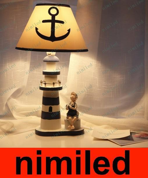 nimi562 Mediterranean Watchtower Wooden Lighthouse Desk Lamp Study Bedroom Living Room Home Decoration Children Table Light Bedside Lighting