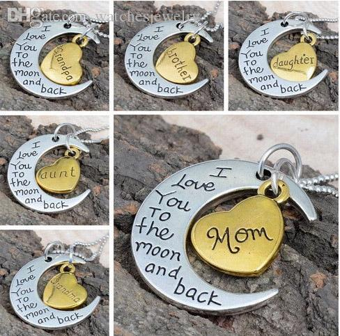 All'ingrosso-Mom Gift I Love You to the Moon e Back Mom Catene Collana New Fashion Charms Gioielli Heart Daughter Grandma Silver Gold Tone
