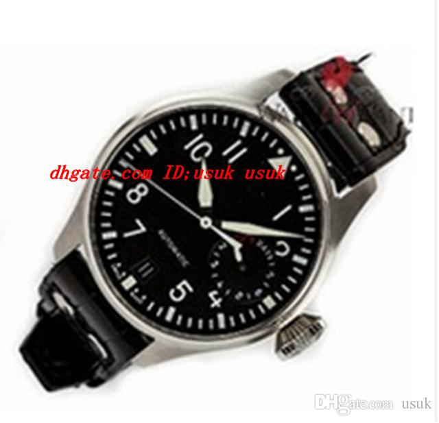New Big Pilot 7 Tage Gangreserve Edelstahl 5004,01 Herren-Sport-Armbanduhr schwarzer Lederarmband Mens-automatische Uhr