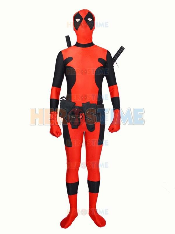 Deadpool costume Hot Sale Halloween Cosplay Lycra Spandex Deadpool Hero zentai Suit free shipping