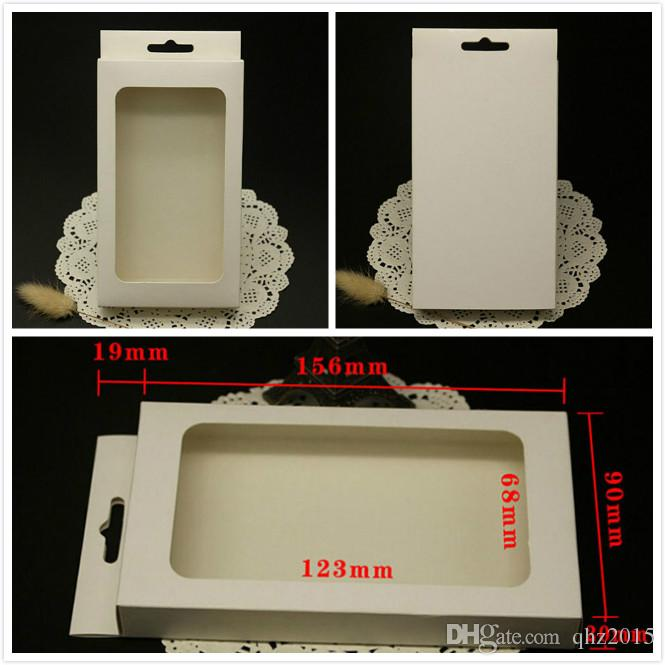 White blank paper retail box for iphone 6 6s 5s case packing boxes bag with PVC window for Samsung s3 s4 hard cover