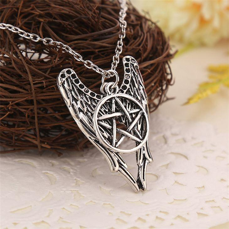 Supernatural necklace pentagram Pentacle Castiel angel wings vintage antique silver pendant jewelry for men and women wholesale EH167