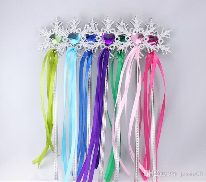 요정 지팡이 리본 줄무늬 크리스마스 결혼식 파티 눈송이 보석 스틱 마술 지팡이 색종이 조각 파티 장식 이벤트 이벤트 호의 용품
