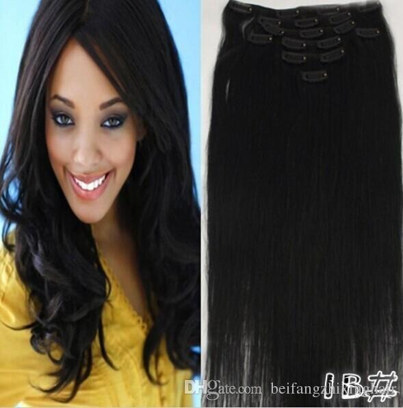 """18 """"20"""" 22 """"24"""" 1b # Off Black180g / Set Indian Remy Human Hair Clip In Extensions DHL Darmowa Wysyłka"""