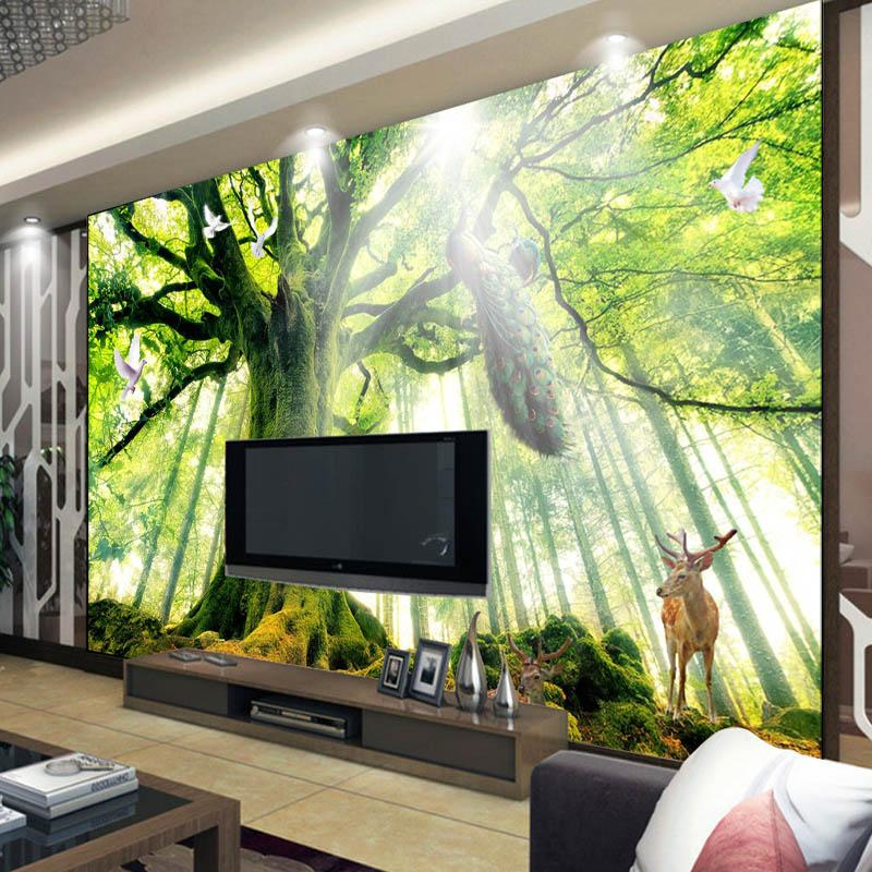 Trees Woods Forest Photo Wallpaper Custom 3D Wallpaper Natural Landscape  Wall Mural Art Room Decor Bedroom Home Decoration Peacock Sika Deer 2018  From ...