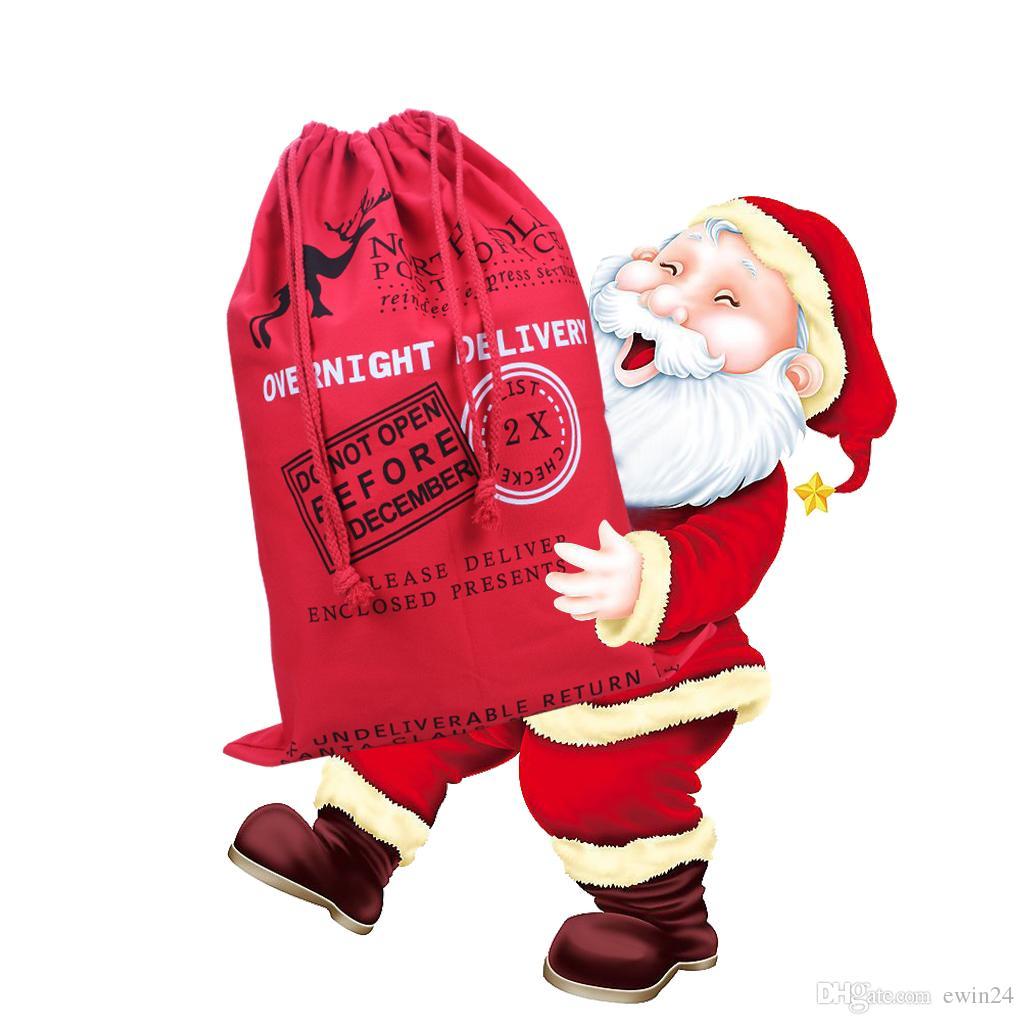 Christmas Gift Bags Large Cotton Canvas Storage Santa Claus Reindeer Drawstring Bag For Kids Free Shipping