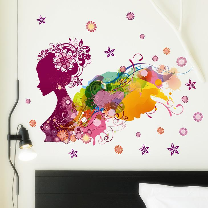 2017 Colorful Girl Flower Decal Removable Door Room Art Mural Romantic Sexy Lady Forever Flower Wall Sticker