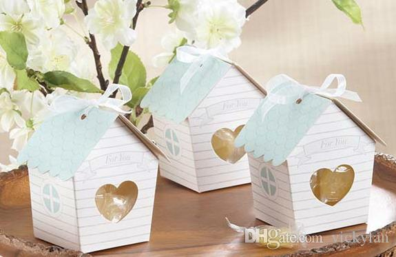 DIY Folding Cardboard Wedding Candy Box Party Favor Package with ribbon and hangtag - house shaped 120pcs/lot LWB0351