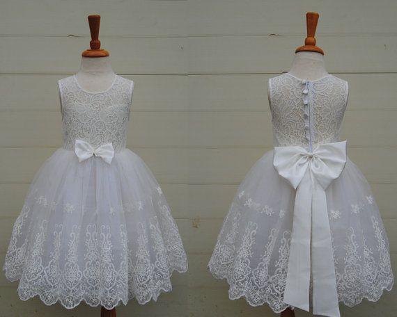 Großhandel Weiße Blume Mädchen Kleid Kleinkind Mädchen Kleid Spitze ...