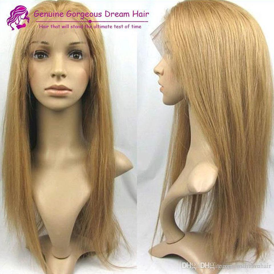 Brazilian Human Hair Honey Loira # 27 Perucas dianteiras de Lace Silky Straight Human Human Wigs com Cabelo Bebê Seletor Natural