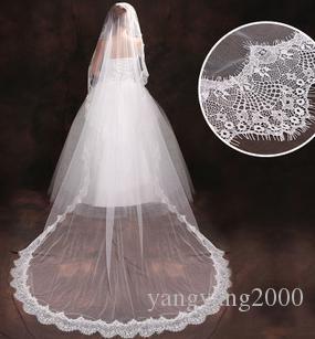 Atacado hot nupcial acessórios do casamento nova noiva de modelagem 3 metros dupla camada véu de fios macios T305
