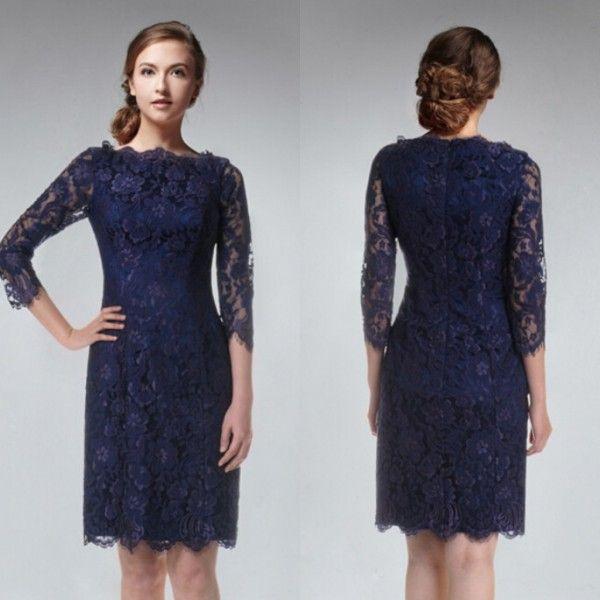Dark Blue Sheath Simple Bridemaid Dresses Bateau 3/4 Długie Rękaw Suknie Druhna Maid of Honor Suknie Krótka Sukienka Koronkowa Zipper