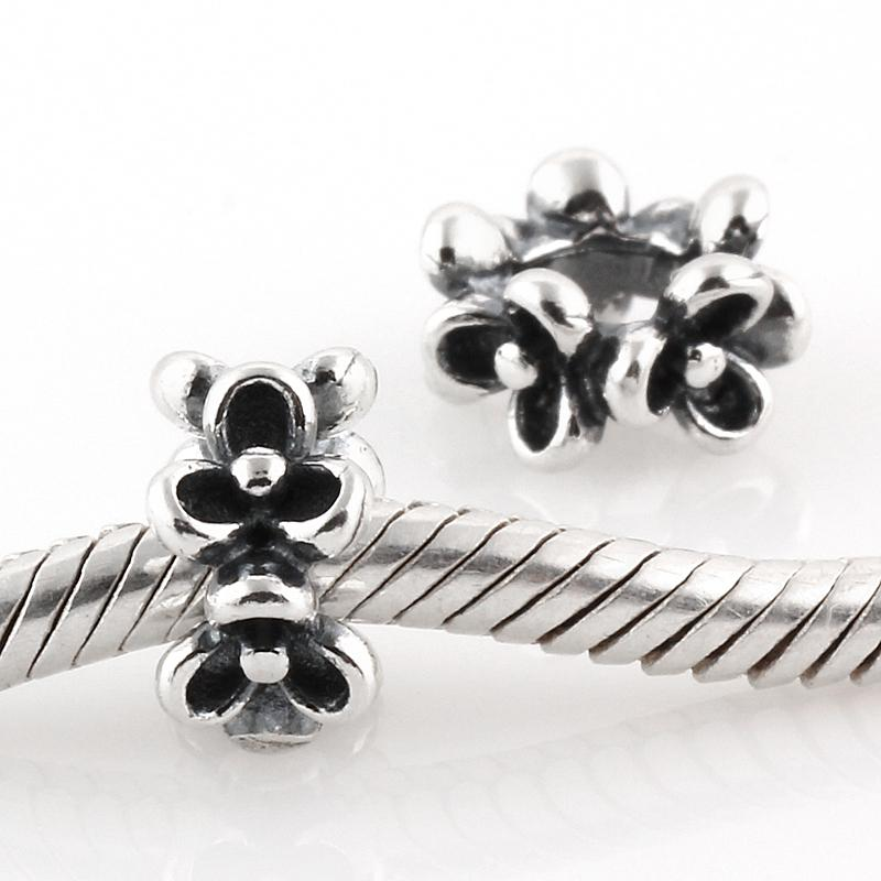 Se adapta a Pandora Charms Bracelet Auténtica plata de ley 925 Original Bead Clover Flower Pattern Screw Charm DIY Resultados de la joyería