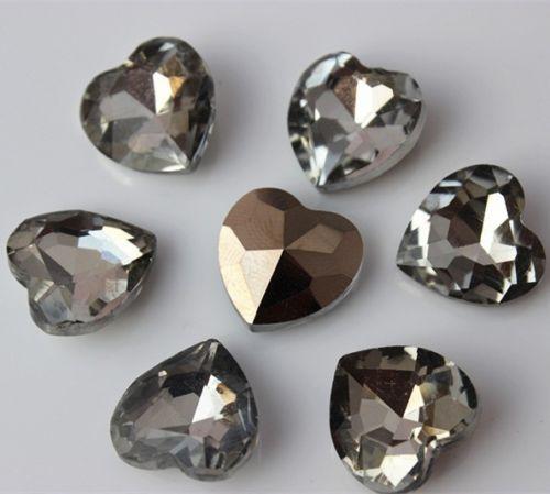 40PCS 14mm Heart shape back Clear Glass Crystal Rhinestone Beads ZZ150
