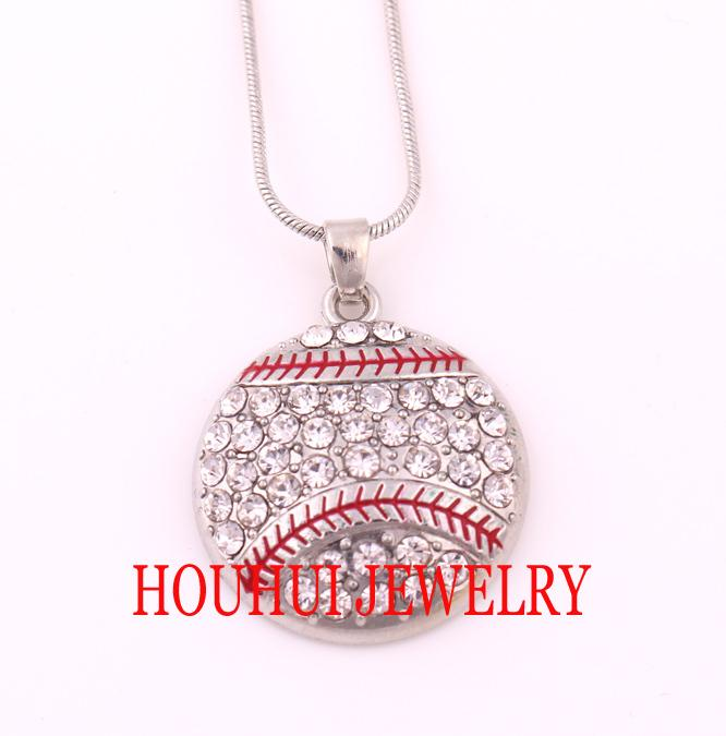 Latest style Free shipping 30pcs a lot rhodium plated Baseball Crystal Pendant sports chain necklace(A500125)