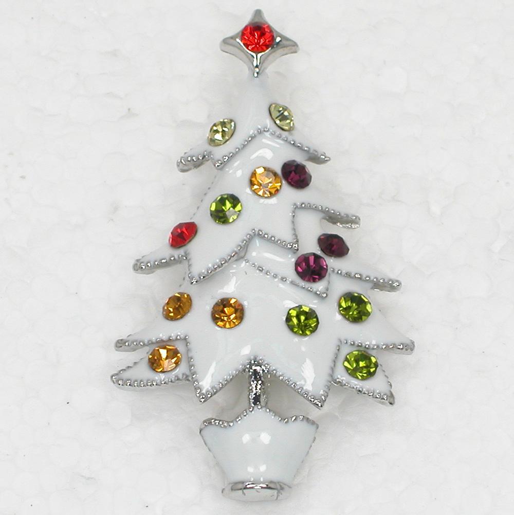 12pcs / lot Wholesale Kristallrhinestone Emailling Weihnachtsbaum Pin Brosche Weihnachtsgeschenke Art und Weisekostüm Broschenschmucksachegeschenk C423