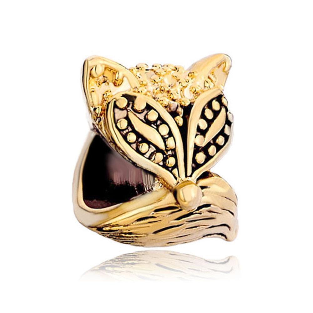 HK MYD Jóias Black esmalte Fox Animal Bead Em Chapeamento Da Cor do Ouro Europeu Charme Fit Pandora Pulseira