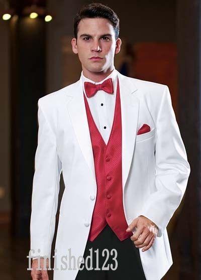 유행 2 버튼 하얀 신랑 턱시도 노치 옷깃 Groomsmen 최고의 남자 웨딩 댄스 파티 정장 (자켓 + 바지 + 조끼 + 넥타이) G5178
