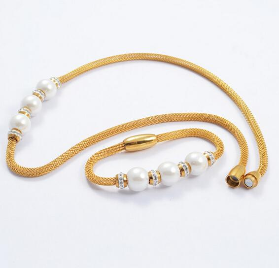 Two Tone High Grade Crystal With Three White Pearl Drill CZ Mesh Wire Chain Bracelet &Necklace Set Stainless Steel Gold&Silver