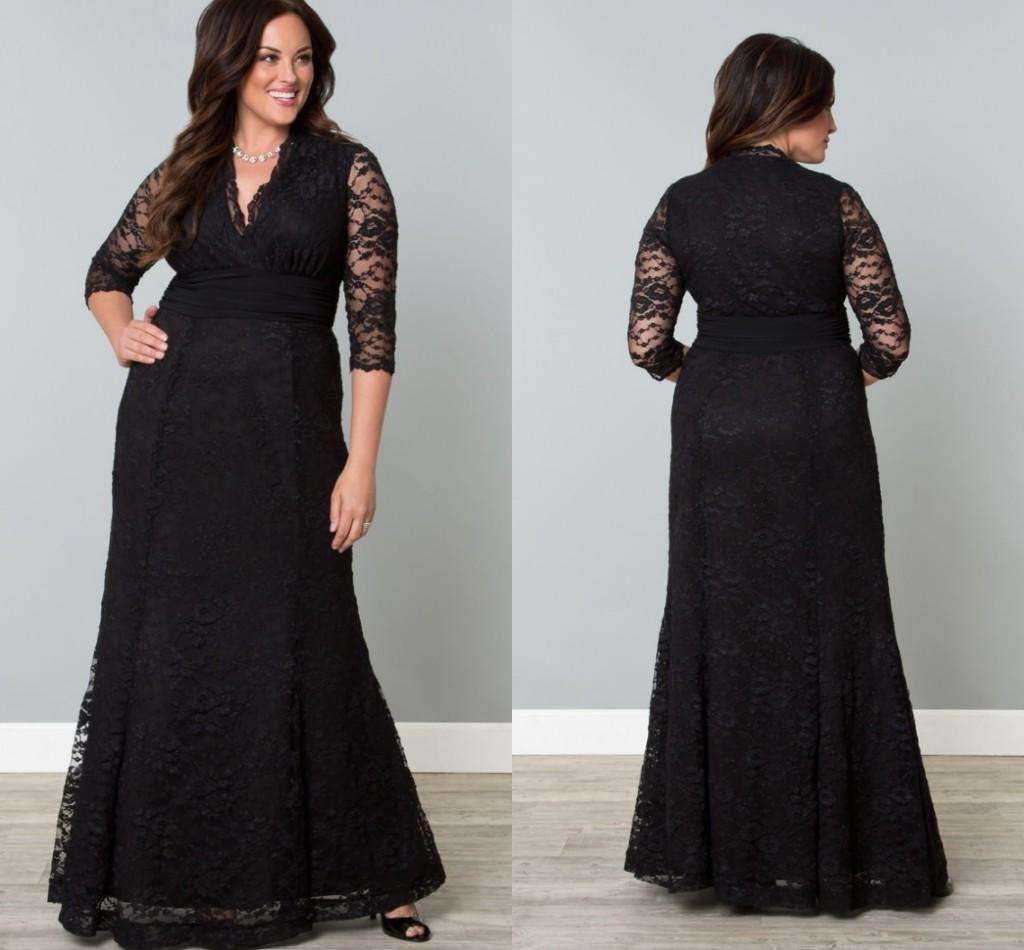 Black Full Lace Plus Size Formal Dresses V Neck 3/4 Sleeve Mermaid Evening  Gowns Floor Length Mother Of The Bride Plus Size Lingerie Plus Size ...