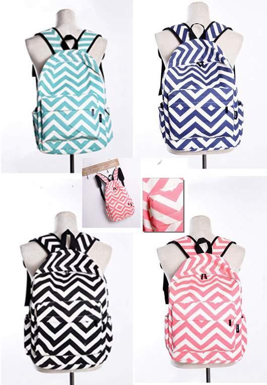 """4 farben streifen chevron schule rucksack bookbag 16 """"reisetaschen rucksäcke leinwand schultern handtaschen rucksack für college school bag"""