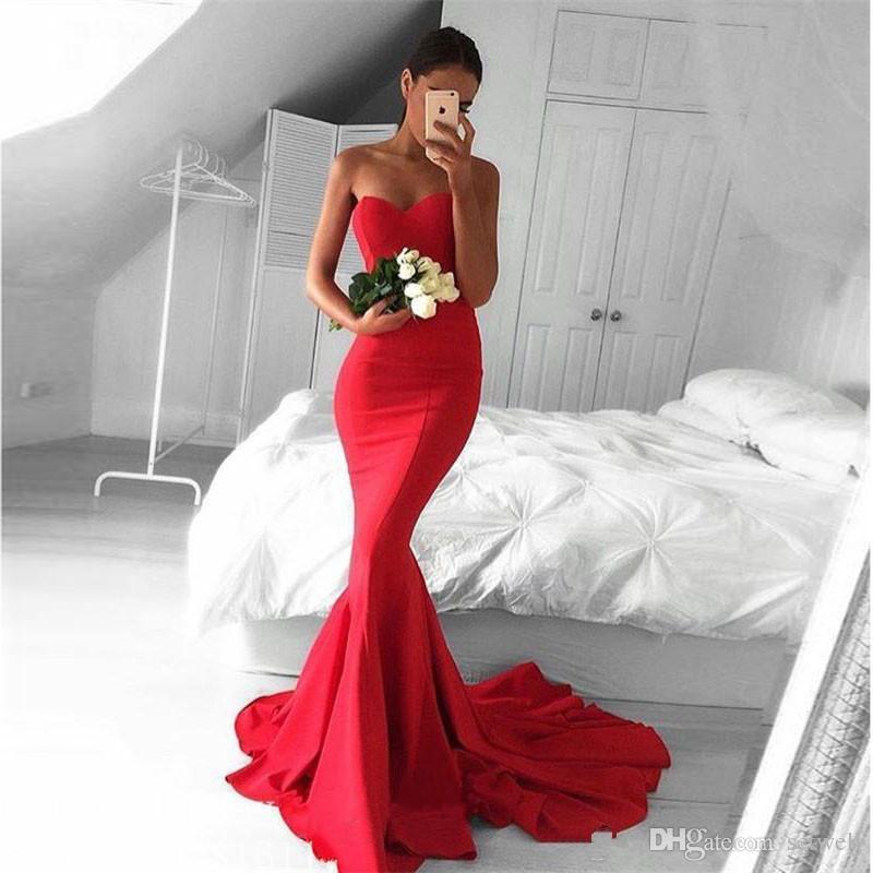 Cor vermelha Simples Barato Vestidos de Noite Sexy Querida Até O Chão Vestidos de Noite Custom Made Sereia Formal Vestido de Baile