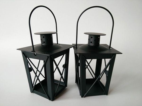Rustic Hollow Iron Lantern Candle Holder Crafts Wedding Centerpiece Black