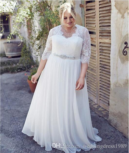 Charming Half Sleeve Plus Size Brautkleider Lace Beads Garden Chiffon 2018 Frühling Zug Large vestido de noiva Brautkleid Ball für die Braut