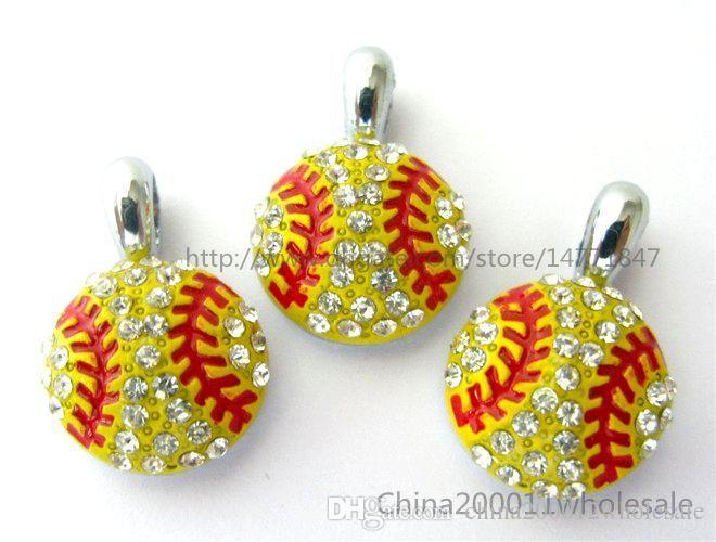 10pcs softball With Rhinestone Hang pendant charms 15x15mm Fit DIY Bracelet/Necklace /Key chain/Phone strip HC360