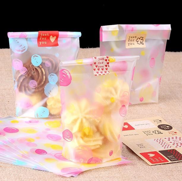 Довольно цветной Candy Cake Bag 12 * 20.5 см Печенье Печенье Печенье Упаковка Пластиковые пакеты Разрешенные подарочные Part Partors Favors SD828