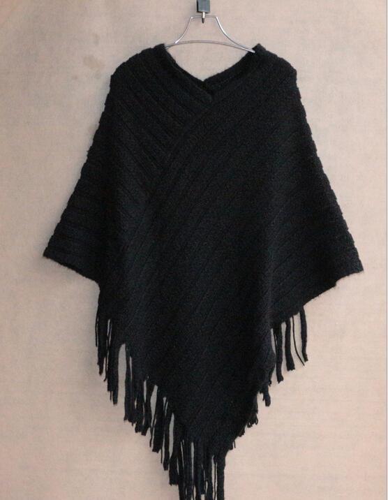 가을 / 겨울 여성용 스웨터 패션 플러스 사이즈 블라우스 케이프 기하학적 목도리면 스웨터 루즈 한 박쥐 술 폰초 케이프 코트