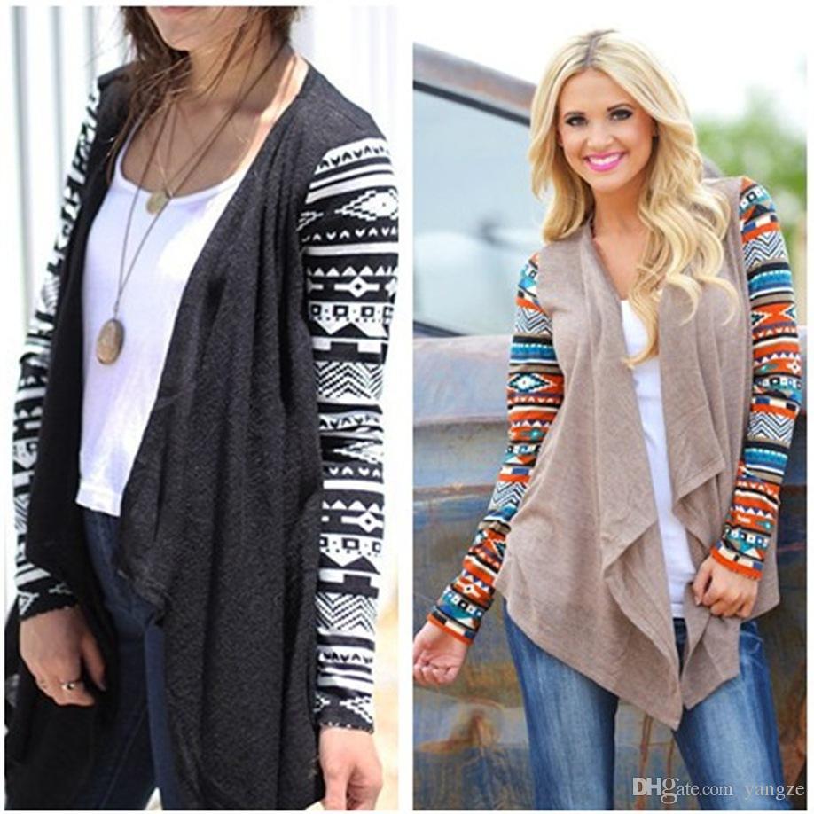 Women Open Cardigan Long Sleeve Knitted Sweater Ladies Knitwear Jacket Coats