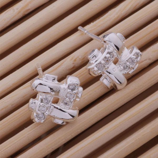 Moda (fabricante de joyería) 40 piezas de una gran cantidad de rejilla con aretes de diamantes oreja 925 joyas de plata de ley pendientes de la moda del brillo de la fábrica