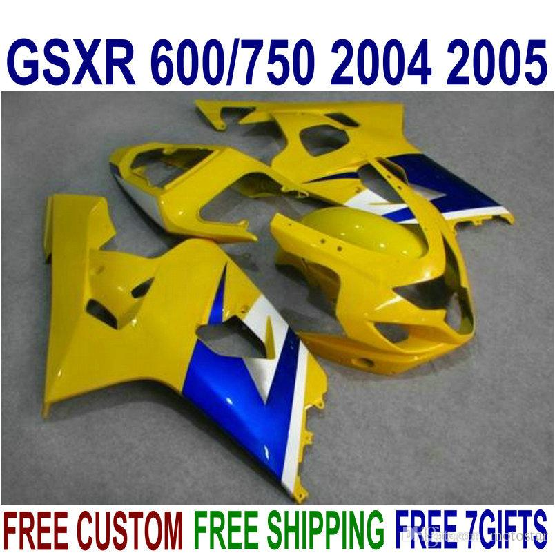 Livre personalizar carenagem ABS kit para SUZUKI GSXR600 GSXR750 2004 2005 K4 GSXR 600 750 04 05 carenagens amarelo azul definir FG76